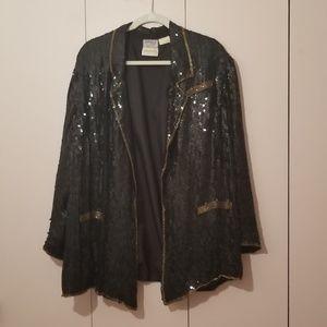Vintage beaded blazer with gold bead trim
